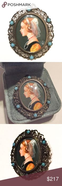 Italian vintage sterling cameo miniature portrait Purchased new by my Dad in Italy in the 1980s for me.  Stamped 800 silver, can be worn as a pendant necklace or as a pin brooch. Gorgeous silver filigree scroll and turquoise glass (?) beaded detail. Comes with box (not original). This was hand painted, and in right lower corner, you can see where the artist may have had a bit too much espresso! About 1.25 inch long, slightly smaller across. Gorgeous piece for Edwardian Victorian Venetian…