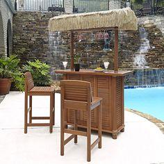 Amazon.com: Home Styles Bali Hai Tiki Bar and Two Stools, Eucalyptus Finish: Garden & Outdoor