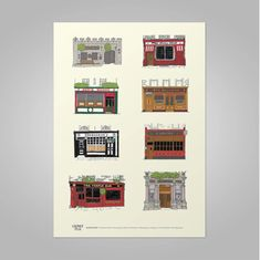 Dublin Pubs Print, including Grogans, The Stags Head and The Long Hall. Irish designed and made in Ireland. The Perfect Gift from Dublin. Dublin Pubs, Dublin City, Long Hall, Stag Head, Irish Traditions, Branding Design, How To Draw Hands, Prints, Books