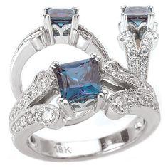 18k split shank cultured 5.5mm princess cut alexandrite engagement ring