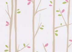 Twiggy Taupe Pink and Green Kids Wallpaper | designyourwall.com