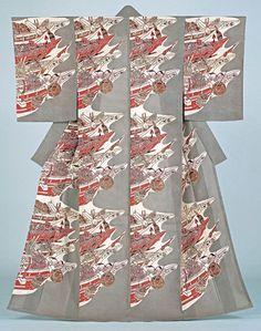 Serizawa Keisuke (1895–1984). Fishing Boats 1958. Kimono, stencil-dyed silk gauze, 64 3/4 x 49 5/8 in. Tohoku Fukushi University Serizawa Keisuke Art and Craft Museum.