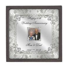 60th Wedding Anniversary Photo Gift Box Premium Jewelry Boxes