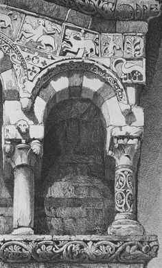 "John Ruskin, The Seven Lamps of Architecture, 1855 Plate VI, ""Arch from the Façade of the Church of San Michele, Lucca,"" p. 84"