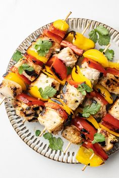With fewer than 281 calories per serving, these kebabs qualify as a low-calorie, high-protein meal! This means that you can feel good about serving them to your loved ones. Best Chicken Recipes, Spicy Recipes, Grilling Recipes, Great Recipes, Healthy Recipes, Cooking Recipes, Grilled Pork, High Protein Recipes, Healthy Food Choices