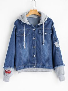 Shop for Hooded Patches Frayed Denim Jacket DENIM BLUE: Jackets & Coats L at ZAFUL. Only $38.99 and free shipping!