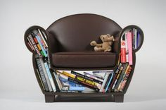 Upholstered Reading Chair with Book Storage, The Hollow Storage Chair by Judson Beaumont