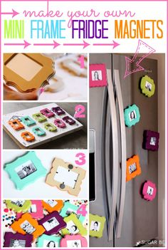 Mini Frame Fridge Magnets - Sugar Bee Crafts - what a cute idea - diy with the cricut Bee Crafts, Crafts To Sell, Easy Crafts, Diy And Crafts, Craft Gifts, Diy Gifts, Diy Magnets, Photo Magnets, Mothers Day Crafts