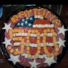 Bologna and cheese tray we made for the Daytona party, easy and super fun!!