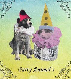Party Animal, Vintage Dog and Cat Birthday Card. $2.00, via Etsy.