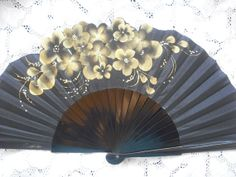 Hand Painted Fans From Spain | hand painted spanish fan orange spring FREE SHIPPING