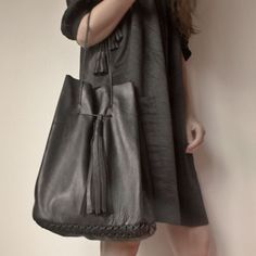 レザー バッグ/Large Leather Tote Bag by Annoukis