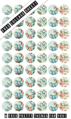 Free Stock Images:Vintage Bluebirds Collage Sheet 1 Inch Circles - Free Pretty Things For You