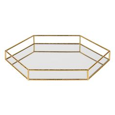 Kate And Laurel Felicia Mirrored Tray In Gold - Serve your guests in glamorous Art Deco style with the Felicia Mirrored Tray from Kate and Laurel. Its hexagonal shape is highlighted with a gold finish metal frame and inset with a mirror bottom. Mirror Tray, Metal Mirror, Vanity Tray, Gold Bed, Ottoman Tray, Bed Tray, Ottoman In Living Room, Metal Trays, Hexagon Shape