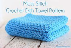 Free Moss Stitch Crochet Dish Towel Pattern. Love this stitch! Makes a beautiful design.