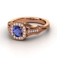 Vintage. Round Sapphire 14K Rose Gold Ring with Diamond. Daniel, Amber & Elijah's birthstone :)