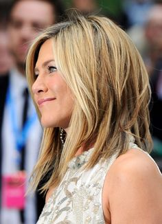 Jennifer Aniston- long bob! Add some hair extensions to achieve this look if your hair is too short!