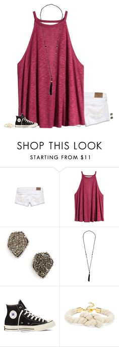 """goodnight!"" by secfashion13 ❤ liked on Polyvore featuring Hollister Co., H&M, Kendra Scott, Converse and BaubleBar"
