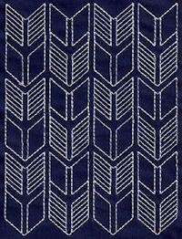 Japanese Embroidery Patterns Sashiko - I like that this one looks like arrowheads. Cute for a border. Sashiko Embroidery, Learn Embroidery, Japanese Embroidery, Embroidery Stitches, Machine Embroidery, Embroidery Books, Border Embroidery, Embroidery Scissors, Gold Embroidery