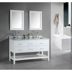 """Design Element London 61"""" Double Vanity with Open Bottom - Pearl White    $1039"""