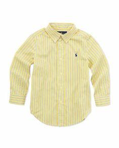 cbda1bd8e Z15HX Ralph Lauren Childrenswear Striped Long-Sleeve Blake Shirt, Yellow,  Sizes 4-