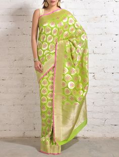 Mint Green-Pink Banarasi Silk Saree