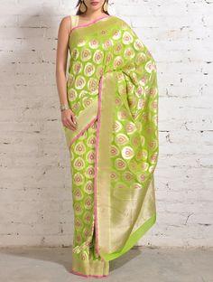 Mint Green-Pink Banarasi Silk Saree