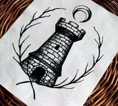The Moonlit Keep. handmade screen printed by PoisonApplePrintshop, $12.00