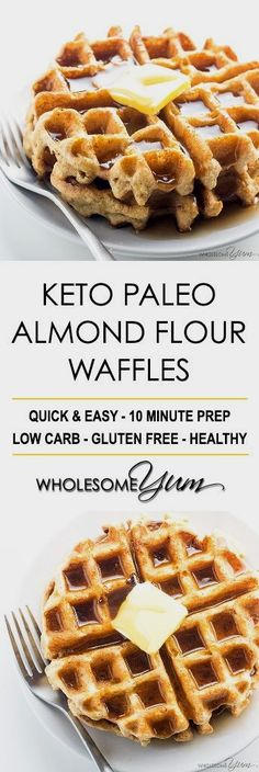 Keto Paleo Almond Flour Waffles Recipe - Gluten Free - These easy keto paleo waffles with almond flour are quick to make, using natural ingredients. They even get crispy! Just 20 minutes including cook time.