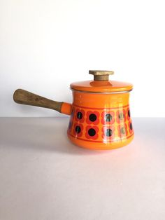 Retro Orange Enamel Mod Flowers Fondue Pot