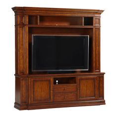With these pieces as the foundation of your own custom unit, you are off to a fabulous start. Capable of supporting large televisions and still manages to be a stylish and smart storage solution. Featuring a breakfront design with recessed panels on each end, which conceal hidden side storage for DVDs and more. The two lower doors include both glass and wood inserts, and the two center drawers and channel speaker shelf complete the piece both stylishly and functionally.