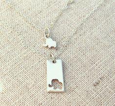 Little Elephant Mother Daughter Necklace Set