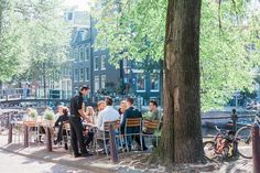 Canal side café in Amsterdam - the perfect city for a weekend get away
