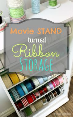 Repurpose old VHS movie stand into ribbon storage