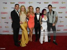 Adult film actor/director Mick Blue, co-hosts of the 2016 Adult Video News Awards adult film actress Anikka Albrite and comedian/actress Kate Quigley, AVN Media Network CEO Tony Rios, co-host and adult film actress/director Joanna Angel and adult film actor Small Hands arrive at the Hard Rock Hotel & Casino on January 23, 2016 in Las Vegas, Nevada.