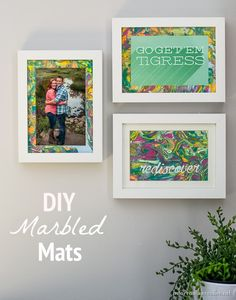 DIY Picture Frame Gallery Wall | Make your own marbled mats! Find this DIY Home Decor Idea from @joannstores