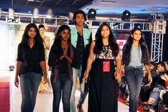 Designers from Surana College Fashion Team walking the ramp... — at The Indranagar Club.