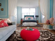 poppy red and aqua bedroom - Google Search