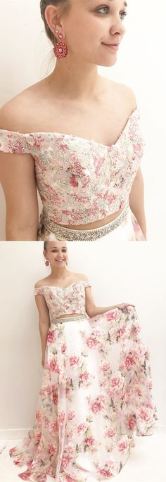 two piece off the shoulder floral long prom dres party dress