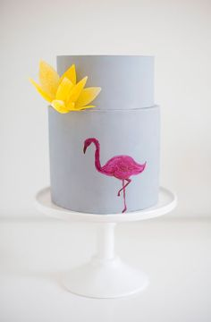 Gray cake with painted flamingo and yellow sugar flower Wafer Paper Flowers, Sugar Flowers, Gorgeous Cakes, Amazing Cakes, Cupcake Cookies, Cupcakes, Flamingo Cake, Easy Cake Recipes, Edible Art
