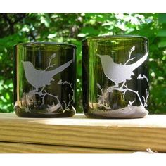 recycled wine bottles with etched bird