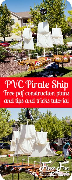 Free construction plans and alternate ideas on how to make use of this PVC Pirate ship. How to build a pirate ship from pvc pipe.