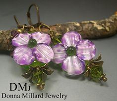 Handmade LAMPWORK EARRINGS FLORAL glass beads by DonnaMillard