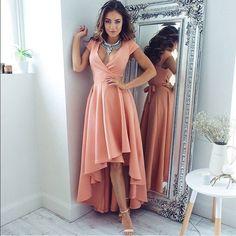 High Low V-Neck Cap Sleeves Blush Satin Prom Dress with Sash