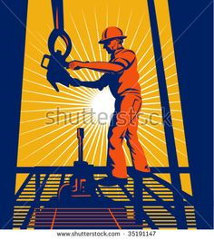 Oil worker at worker on an oil well with sunburst in the background #oilworker #retro #illustration