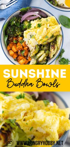 These sunshine buddha bowls featuring roasted veggies, an olive oil herb sauce, and topped with scrambled or fried eggs, make a perfect customizable and filling meal for any time of day. #ad #eggenthusiast