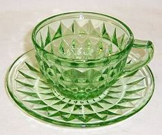 Jeannette Depression Glass Green WINDSOR DIAMOND Tea or Coffee Cup and Saucer