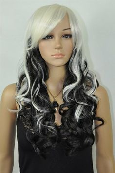 Wave cosplay wig long black mixed white curly color fibre hair wigs