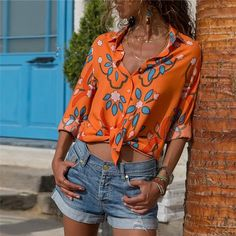 Long Sleeve Floral Casual Turn Down Collar Ladies Blouses – jullymart Chiffon Shoulder, Blouses For Women, Ladies Blouses, Work Tops, Types Of Sleeves, Casual Shirts, Chiffon Tops, T Shirt, Long Sleeve
