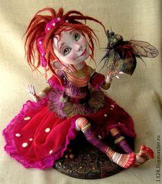 """Кукла""""Мухоморинка"""" - ярко-красный,мухомор,девочка,лесной житель,муха,радость"""